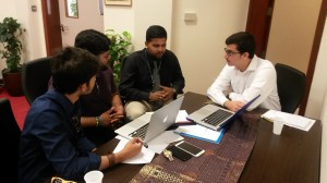THIMUN Qatar IT Coordinator and CMU students meet weekly to discuss the FIlm Festival submission program under development.