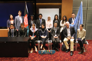 Hassan and members of the THIMUN Qatar Afghanistan Initiative